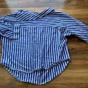 MAAC London buttoned shoulder striped blouse XL
